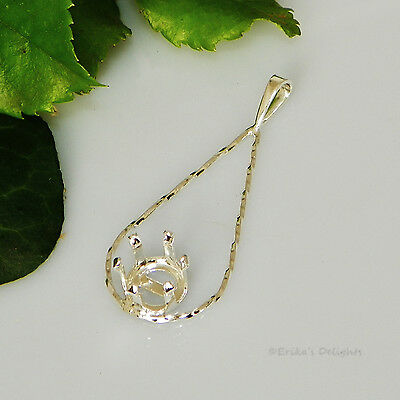 (6mm -10mm) Round TWISTED TEARDROP Sterling Silver Snap Tite Pendant Setting