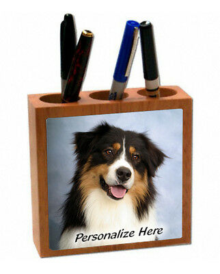 Australian Shepherd   tri color   ( 19 )   Personalized  Pencil and Pen Holder