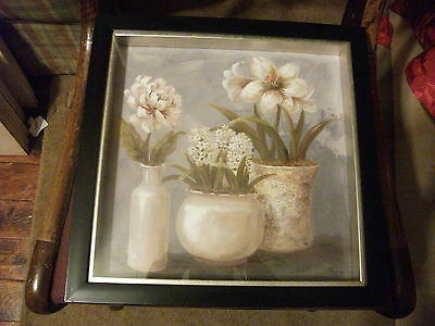 "FLOWER WINDOW BOX PICTURE WITH FRAME 13""X 13"""