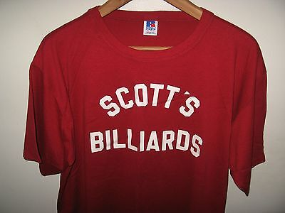 Scott's Billiards Tee - Vintage 1980's Thin Red Russell Athletic USA T Shirt XLg