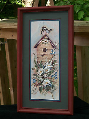 "Home Interior Bird House Picture Framed & Matted  21 1/2 Tall"" x 11 1/2"" Wide"