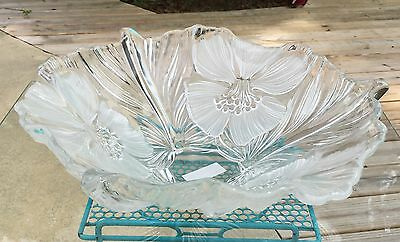"Mikasa Hibiscus Frost Centerpiece Bowl 15"" Dogwood Crystal"