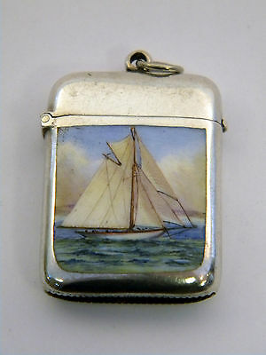 Antique Victorian Solid Silver & Enamel Vesta Case Birm 1896 Sail Boat Tall Ship