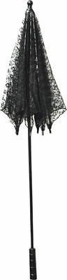 Morris Costumes New Sheer Durable Wire Frame Lace 33 Inche Black Parasol. BB28BK