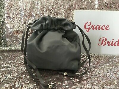 GREY  SATIN DOLLY BAG BRIDAL BRIDESMAID FLOWER GIRL  **free swatches*