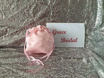 PALE PINK SATIN DOLLY BAG BRIDAL BRIDESMAID FLOWER GIRL BNIP **free samples**