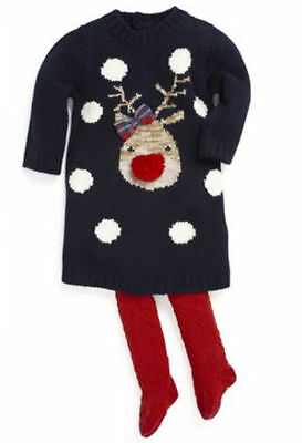 Ex Store Girls Baby Knitted Dress & Tights Reindeer Rudolph Christmas 3/6 Mths