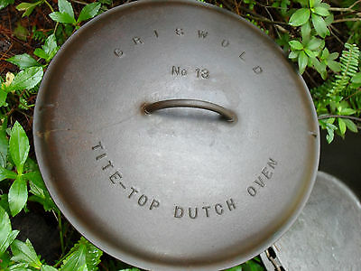 Rare: GRISWOLD No. 13 Cast Iron Dutch Oven Lid Cover 2637 EPU, cracked