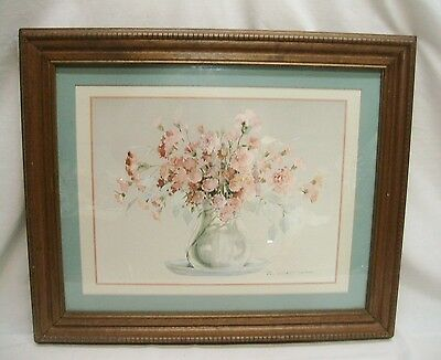 "Home Interior Homco Beautiful""Vintage Pink Flower Arrangement Clear Vase""Pictur"