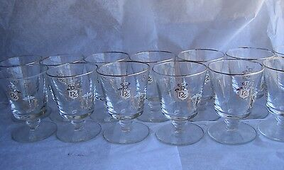 13 Caduceus Rx Apothecary Footed Highball Glass Tumblers Gold Doctor Medical