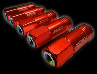 20Pc 12X1.5Mm 60Mm Extended Aluminum Tuner Racing Capped Lug Nuts Red/neo C