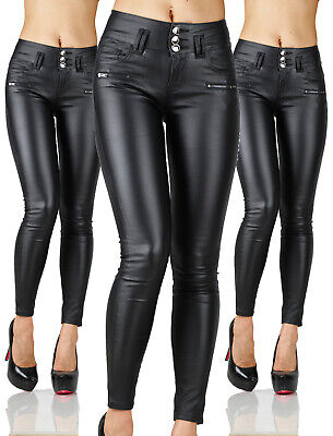 Sexy Women's Stretchy Black Jeans Trousers Skinny  High Waisted Wet  Look G 231
