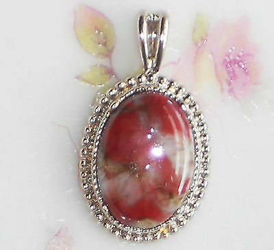 #580L Vintage Glass Pendant  Red Marble Brown Oval Antique Silver NOS Brick