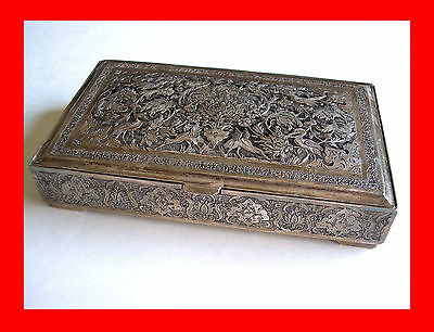 Antique Art Deco Vintage Silver Jewelry Box Cigar Cigarette Box Persian Persia