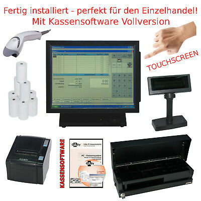 Kassensystem Kassenrechner m. Bondrucker Display Kassenlade Software TOUCHSCREEN