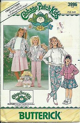 B 3996 sewing pattern JACKET SKIRT PANTS Cabbage Patch DOLL CLOTHES & Transfers
