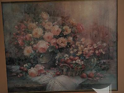Home Interior Large Bouquet of pink roses & basket of strawberries by Lena Lili