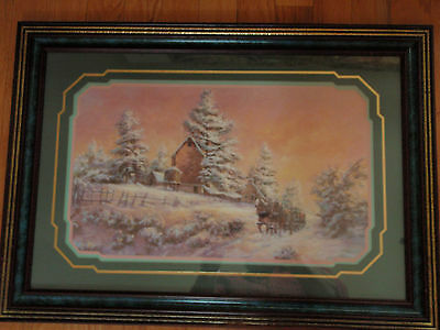 Home Interior Winter scenary Snow Horse & buggy and barn with picket fence