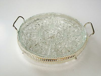 Vtg Buttons & Bows Crystal Glass Vegetable Dip Dish Tray Silver England Stand