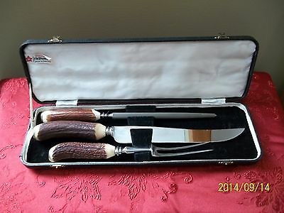Vintage Antler Handled Three Piece Boxed Carving Set