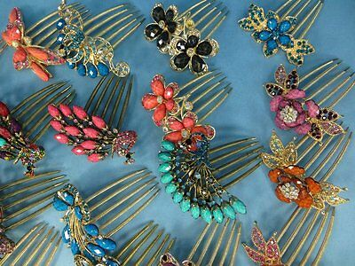 US Seller-lot of 10 wholesale Rhinestone Flower Fashion Jewelry Hair Comb