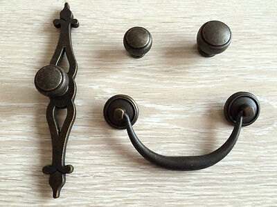 "Dark Antique Bronze Drawer Knobs Cabinet Handles Back Plate 4.25"" Bail Pull"