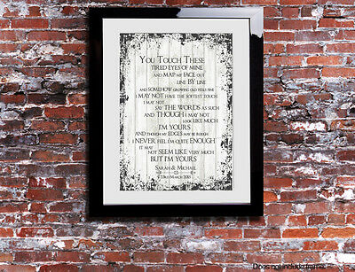 The Script I'm Yours Lyrics Word Wedding Song Personalised Canvas Gift