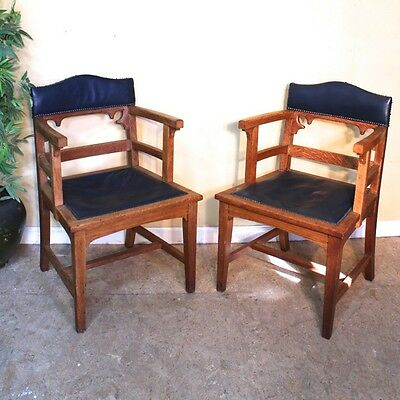 Pair of Victorian Gothic Arts & Crafts Oak Desk Chairs *UK Delivery £85