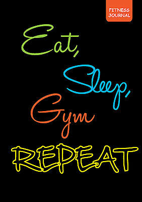 Fitness journal workout tracker EAT SLEEP GYM REPEAT diary A5 size