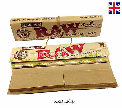 RAW Oragnic Hemp Connoisseur Kingsize Slim King Size Rolling Papers with Tips