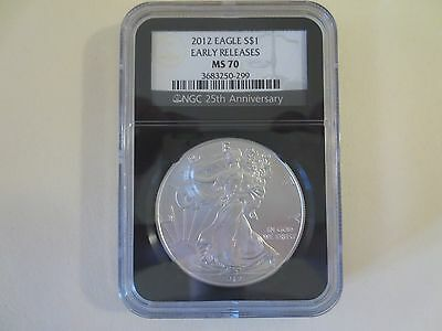2012 Ngc Ms70 First Release Fr American Silver Eagle Ase $1 Retro Black Core