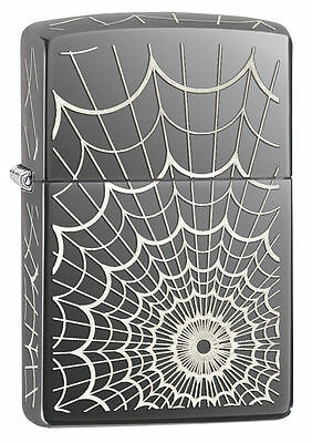 Zippo Windproof Spider Web Black Ice Lighter, 5 Sides Engraved 28527, New In Box