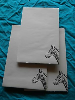 Horse Profile Notepad 50 Sheets 8.5 x 5.5 New Black & White Drawing-3 pads
