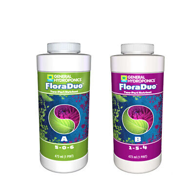 General Hydroponics Flora Duo A+B Set - 2 x 946ML / 2 x 3.79L / 2 x 22.71L
