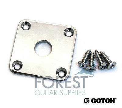 GOTOH JCB4 Metal Jack plate square curved LP style chrome with screws