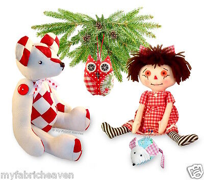 4 X Soft Toy Sewing PATTERNS Teddy Bear/ Rag Doll/ Mouse Pin C/ OWL Indie Design