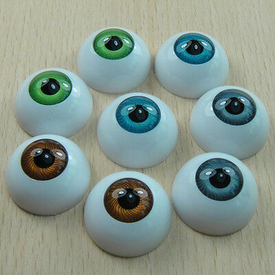 8PCS Half Round Acrylic Doll Bear Craft Plastic Eyes Eyeball DIY 26mm