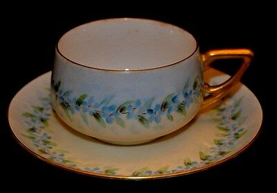 KPM Bavaria Cup and Saucer Forget me Nots Garland Thick Gold Trim