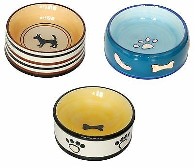 Ceramic Dog Bowl Choose from 3 Colours Small Dog Puppy Food Water Bowls 13cm