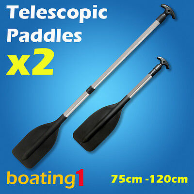2 x Premium Adjustable 75CM-120CM Telescopic Aluminium Oars Paddles
