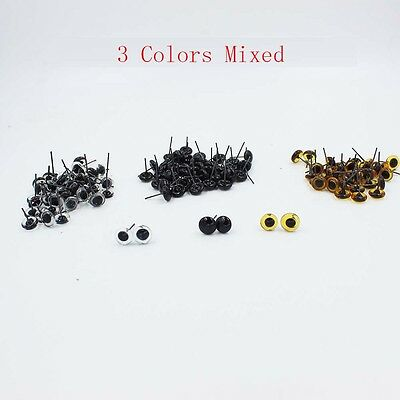 60 Pairs(3 Mixed Color) Glass Eyes On Wire Amber Toy Teddy Eyes Puppets Doll