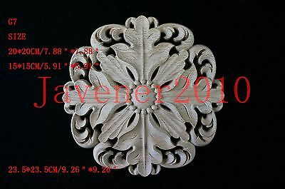 20*20cm Wood Carved Round Onlay Applique Unpainted Wall Retro Door G7 QTY.1