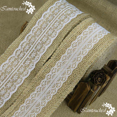 Jute Burlap Natural Hessian Ribbon With Lace Trim Edge Wedding Rustic Vintage
