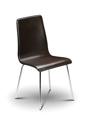 4 x Mandy Brown Real Leather Dining Chair with Chrome Legs