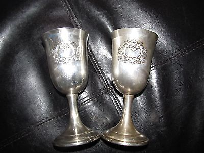 2 ~ WEBSTER WILCOX COUNTESS INTERNATIONAL SILVER WATER / WINE GOBLETS