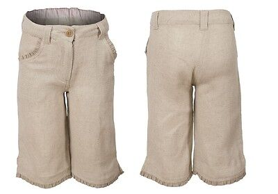 NEW Earth Collection Girls Cute Natural Linen Blend Beige Crop Trousers Ages 2-6