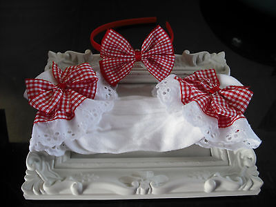 Girls Frilly Socks & Hairband  In White And Red Gingham Size 9-12 1/2 & 12-3 1/2