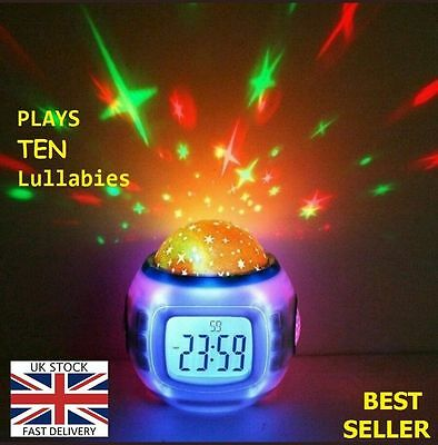 NEW Babies Bedroom Cot Nightlight-Show Sound+Star Projector Musical Lullaby PC01