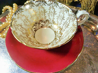 AYNSLEY FANCY  TEA CUP AND SAUCER DEEP  RED LUSH GOLD FOLIAGE GILT DETAIL