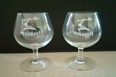 RARE Set of 2 Hennessy Cognac Snifter Shot Glasses - 3 Inches Tall - FAST SHIP!